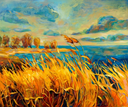 fall landscape: Original oil painting showing beautiful lake,sunset landscape.Fern(rush),sky and clouds. Modern Impressionism
