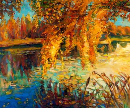 Pintura al óleo original mostrando hermoso lago, puesta del sol landscape.Autumn bosque y el cielo. Modern Impressionism