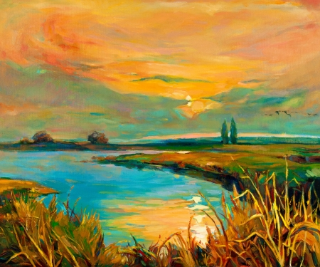 oil painting: Original oil painting showing beautiful lake,sunset landscape.Fern(rush),sky and clouds. Modern Impressionism