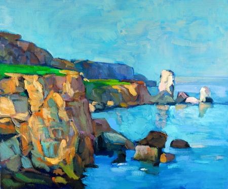 Pintura al óleo original del océano (mar) y acantilados en canvas.Modern Impresionismo
