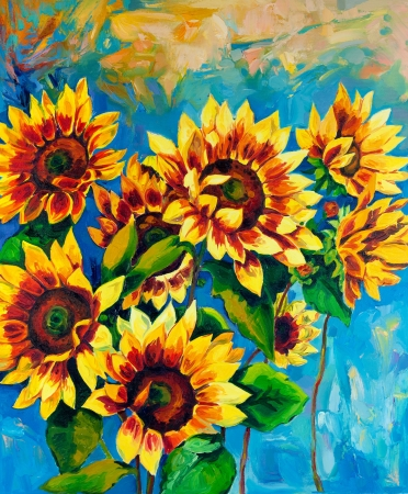 Original oil painting of sunflowers on canvas.Modern Impressionism photo