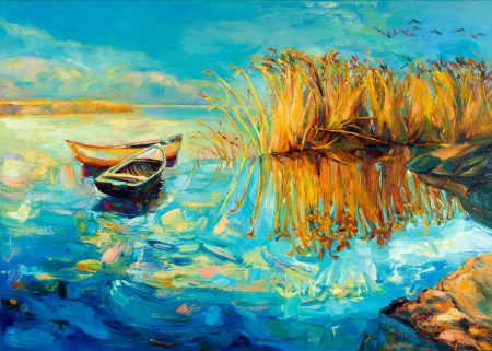yellow boats: Original oil painting of boats,beautiful lake and Fern(rush) on canvas.Sunset over ocean.Modern Impressionism Stock Photo