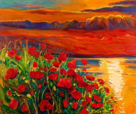oil painting: Original oil painting of Opium poppy( Papaver somniferum) field in front of beautiful sunset over the ocean on canvas.Modern Impressionism