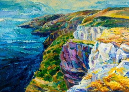 nature scenery: Original oil painting of  ocean(sea) coast and cliffs on canvas.Modern Impressionism