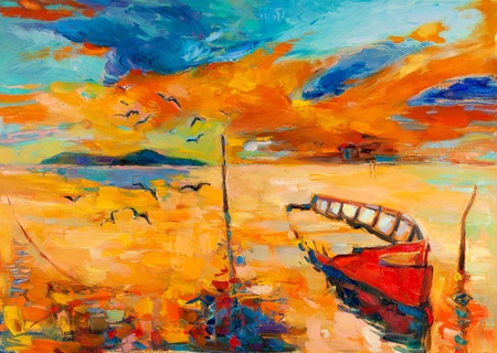 modern painting: Original oil painting of boat and sea on canvas.Sunset over ocean.Modern Impressionism Stock Photo
