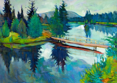 Original oil painting of forest landscape.River and bridge.Modern Impressionism Stock Photo