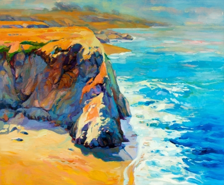 oil painting: Original oil painting of  ocean(sea) coast and cliffs on canvas.Modern Impressionism