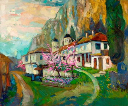 Original oil painting of old  traditional Bulgarian houses and church  in the mountain on canvas.Modern Impressionism photo
