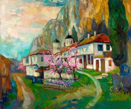 Pintura al óleo original de las antiguas casas tradicionales búlgaros y la iglesia en la montaña en canvas.Modern Impresionismo