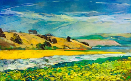 川沿岸とキャンバス上の崖のオリジナルのオイルペインティング。山の風景。現代印象派 写真素材