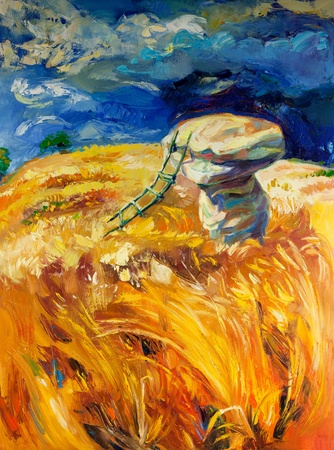 stormy sky: Original oil painting of stormy sky over wheat fields  on canvas.Rocks and ladder.Modern Impressionism