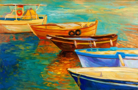 Original oil painting of boats and sea on canvas.Sunset over ocean.Modern Impressionism photo