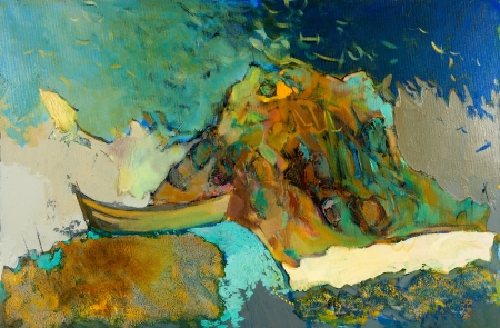 Original abstract oil painting of boat,cliffs and sea on canvas.Modern Impressionism photo