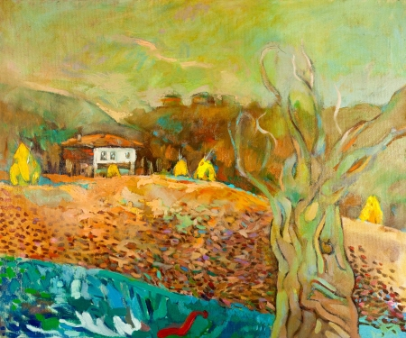 european culture: Original oil painting of old  traditional Bulgarian house   in the mountains  on canvas.Modern Impressionism