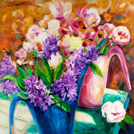 Original  oil painting of beautiful vase or bowl of fresh  flowers.  on canvas.Modern Impressionism photo