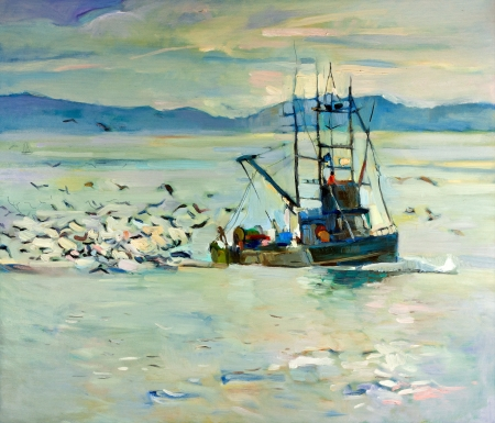 Original oil painting of  fishing boat(ship) in ocean surrounded by seagulls on canvas.Modern Impressionism photo