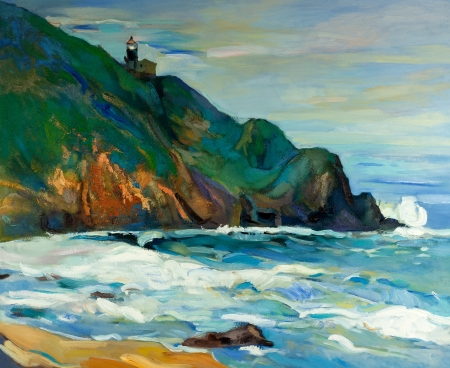 oil painting: Original oil painting of  lighthouse on the seacoast on canvas.Modern Impressionism