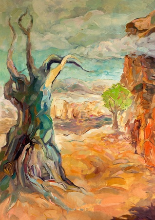 native people: Original oil painting of  Rugged Mountain(Canyon) and dead tree on canvas.Modern Impressionism