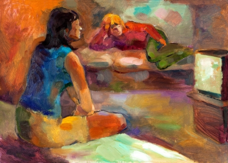 tv remote: Original oil painting on canvas showing two women watching television.Modern Impressionism Stock Photo