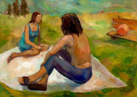 Original oil painting on canvas showing two women on picnic in the park.Modern Impressionism photo