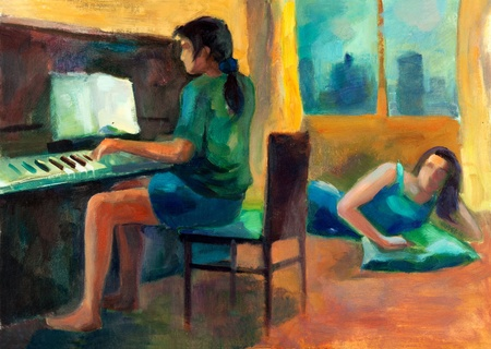 Original oil painting on canvas showing two women.One playing the piano and other listening.Modern Impressionism