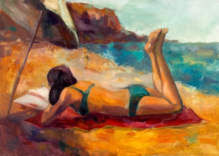 sunbath: Original oil painting on canvas showing woman lieing down and taking sunbath on the beach.Modern Impressionism Stock Photo