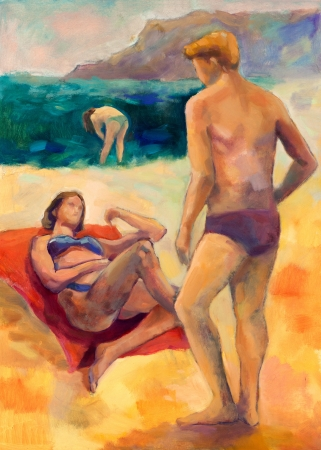 Original oil painting on canvas showing people  taking sunbath on the beach photo