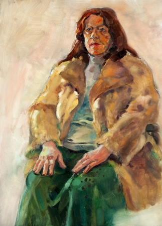 Original oil painting on canvas.Portrait showing a senior woman sitting photo