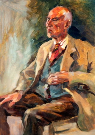 Original oil painting on canvas.Portrait showing a senior man  sitting
