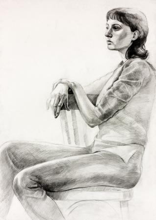 Original pastel o carbón dibujo y dibujado a mano la pintura o el dibujo de trabajo de una mujer sentada en una composición chair.Free