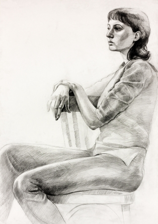 artistic:  Original pastel  or drawing charcoal, and  hand drawn painting or  working  sketch of a woman sitting in a chair.Free composition Stock Photo