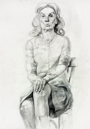 Original pastel  or drawing charcoal, and  hand drawn painting or  working  sketch of a woman sitting in a chair.Free composition photo