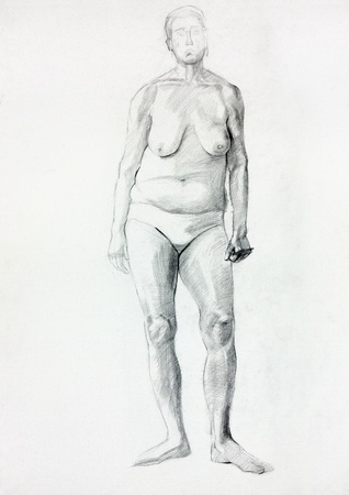 nude art model:  Original pastel  or drawing charcoal, and  hand drawn painting or  working  sketch of a figure of old nude woman standing.Free composition