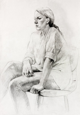 Original pencil  or drawing charcoal, and  hand drawn painting or  working  sketch of a woman sitting in a chair photo