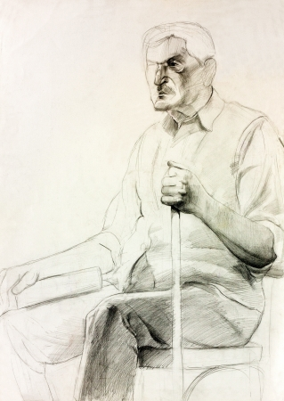 old man portrait:  Original pencil  or drawing charcoal, and  hand drawn painting or  working  sketch of a man with walking stick sitting in a chair