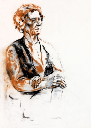 woman sketch:  Original pastel  or drawing charcoal, and  hand drawn painting or  working  sketch of a woman.Free composition Stock Photo