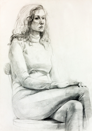 Original pencil  or drawing charcoal, and  hand drawn painting or  working  sketch of a woman.Free composition photo