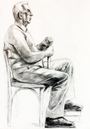 old pencil:  Original pastel  or drawing charcoal, and  hand drawn painting or  working  sketch of a man sitting in a chair.Free composition