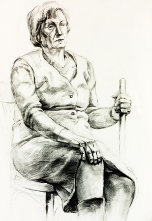 Original pencil  or drawing charcoal, and  hand drawn painting or  working  sketch of a woman sitting and holding a walking stick.Free composition photo