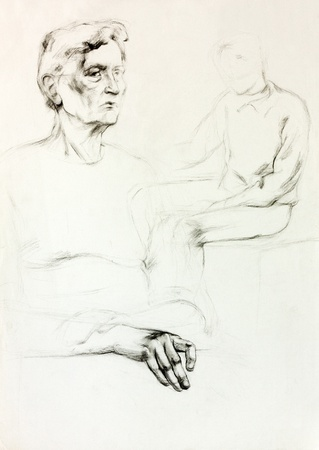 Original pencil  or drawing charcoal, and  hand drawn painting or  working  sketch of a woman sitting.Free composition photo