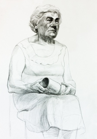 Original pencil  or drawing charcoal, and  hand drawn painting or  working  sketch of a woman sitting and holding a cup.Free composition photo
