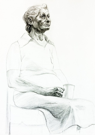 Original pencil  or drawing charcoal, and  hand drawn painting or  working  sketch of a woman sitting in a chair and holding a cup.Free composition photo