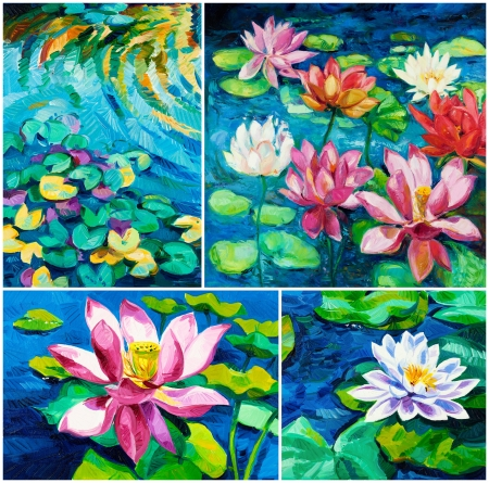 garden pond: Set of Original oil paintings of beautiful water lily(Nymphaeaceae) on canvas.Modern Impressionism