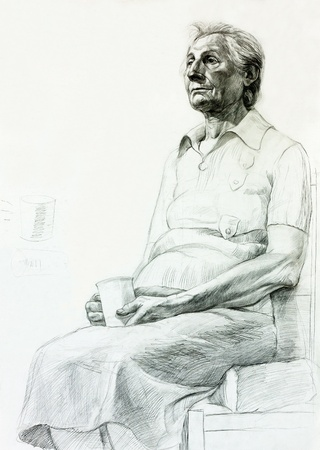 Original pencil  or drawing charcoal, and  hand drawn painting or  working  sketch of a senior woman sitting and holding a cup.Free composition photo