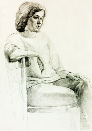 Original pencil  or drawing charcoal, and  hand drawn painting or  working  sketch of a woman sitting in a chair.Free composition photo
