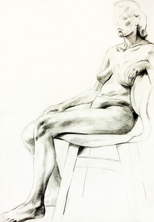 topless women:  Original pencil  or drawing charcoal, and  hand drawn painting or  working  sketch of a topless   woman sitting in a chair.Free composition Stock Photo