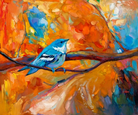 oil pastels: Original oil painting of blue Cerulean Warbler song bird on canvas.Modern impressionism