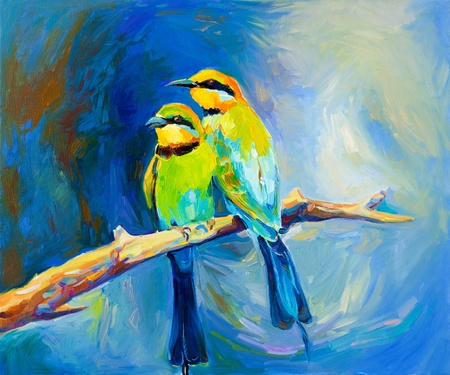 Original oil painting of blue tailed bee eaters, song birds on canvas.Modern impressionism