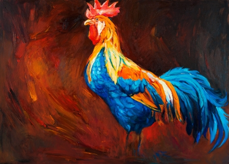 cock: Original oil painting of blue and orange rooster or cock .song bird on canvas.Modern impressionism Stock Photo