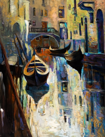 gondolier: Original oil painting of beautiful Venice, Italy.gondolas and houses  on canvas.Modern Impressionism